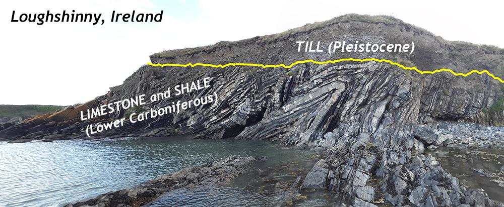 Angular unconformity in Loughshinny, Ireland, showing flat-lying Pleistocene till overlying folded limestone and shale of Carboniferous age. Photo by Jason Loxton, 2018.