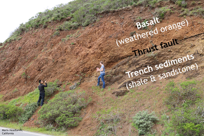 """Two geologists examine an outcrop that consists of a cliff above a steep hill. The cliff shows mostly orange blocky rocks, labeled """"Basalt (weathered orange)."""" The lower part of the cliff shows brownish layered rocks, labeled """"Trench sediments (shale & sandstone)."""" The boundary betwen the two rock units is a crisp line, marked """"Thrust fault."""""""