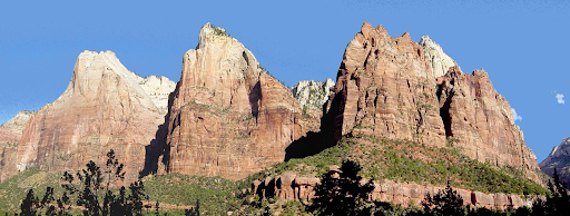 Public domain by: Daniel Mayer. Is licensed under CC0 1.0 From: https://commons.wikimedia.org/wiki/File:The_Three_Patriarchs_in_Zion_Canyon.jpg
