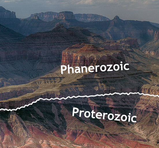 The great angular unconformity in the Grand Canyon, Arizona. The tilted rocks at the bottom are part of the Proterozoic Grand Canyon Group (aged 825 to 1,250 Ma). The flat-lying rocks at the top are Paleozoic (540 to 250 Ma). The boundary between the two represents a time gap of nearly 300 million years.