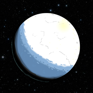 Artist's conception of the planet during the Cryogenian, clad in Snowball Earth glaciers and sea ice.