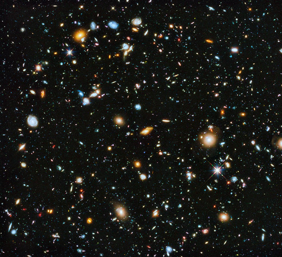The Hubble Ultra-Deep Field image, showing many different far, far away galaxies; in most cases, it took billions of years for the light from these galaxies to reach Earth. Each galaxy shown may be composed of many billions of individual stars, each of which may have its own solar system of planets. Image by NASA, ESA, H. Teplitz and M. Rafelski (IPAC/Caltech), A. Koekemoer (STScI), R. Windhorst (Arizona State University), and Z. Levay (STScI) - http://hubblesite.org/newscenter/archive/releases/2014/27/image/a/ (image link), Public Domain, https://commons.wikimedia.org/w/index.php?curid=33189266.