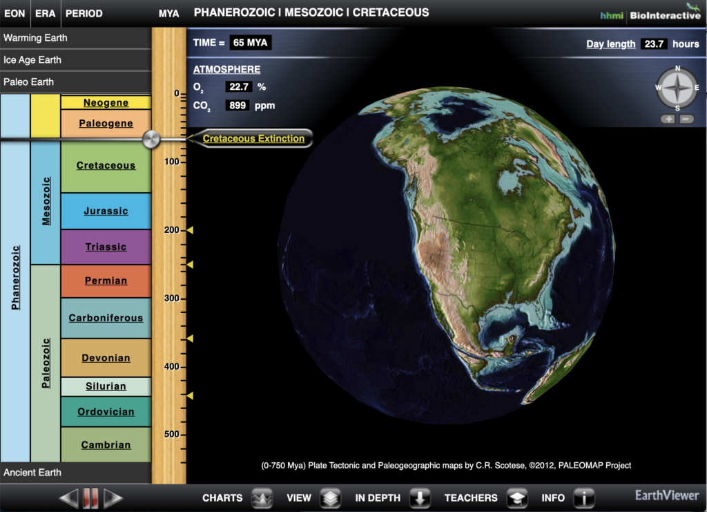 Static image of the Earth Viewer from Howard Hughes Medical Institute Biointeractive. From: https://www.biointeractive.org/classroom-resources/earthviewer. Use for educational purposes.