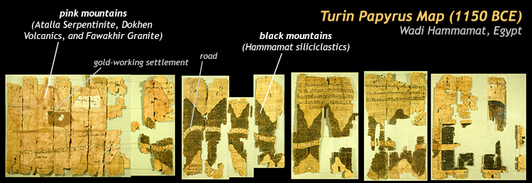 An annotated copy of the fragmentary Turin Papyrus Map from Wadi Hammamat, Egypt. It shows back mountains of siliclastic rock and pink mountains of granite, serpentinite, and volcanic rocks. The granite is gold-bearing, and a settlement, a shrine, and various roads are shown on the map.