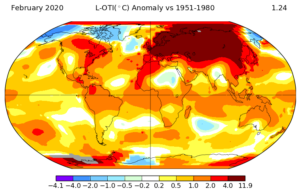 GISSTEMP surface temperature anomaly analysis for January 2020. Average January 2020 temperatures for various surface temperatures around the globe are measured against a baseline average taken from records spanning 1951-1980. The map shows anomalies, or departures, from the average for this thirty year period. Which areas experienced a particularly warm winter? (Source: NASA GISSTEMP)