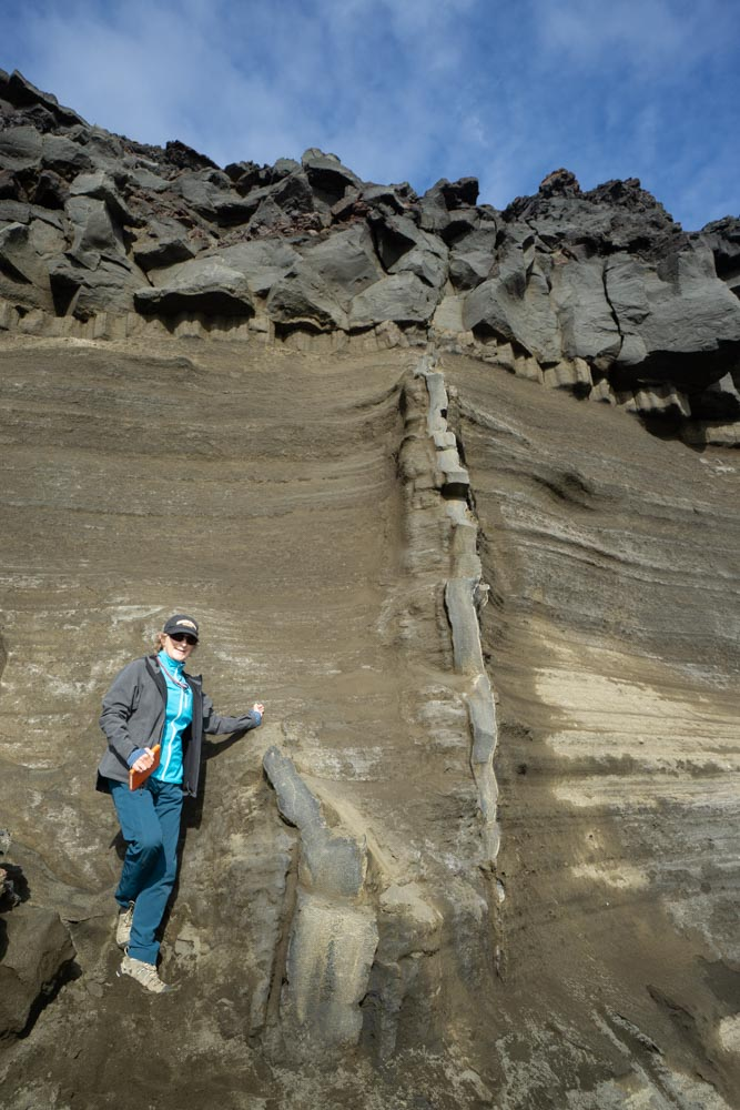 Feeder dike intruding tephra with basaltic lava flow above, Iceland. By: Marli Miller from https://geologypics.com/geological_entries/gallery. For educational purposes.