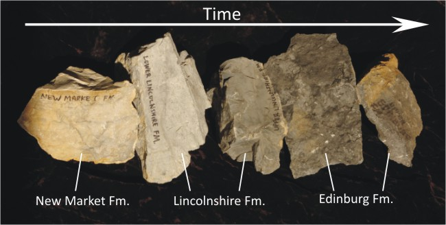 A photograph showing a sequence of 5 rock units, getting darker colored through time. The oldest on the left are a clean light gray. The youngest, on the right, are dark gray.