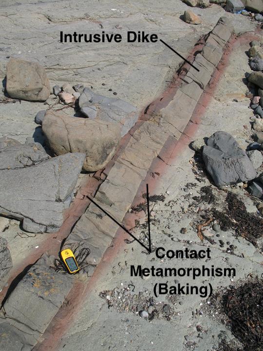 A thin basaltic dike cross-cutting volcanic sediments of Paleogene age at Lagganulva, on the Isle of Mull, Scotland. By permission, John Faithful, University of Glasgow, Scotland.