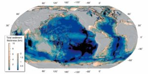 Total sediment thickness in the world's ocean basins, NOAA (Straume, E.O., Gaina, C., Medvedev, S., Hochmuth, K., Gohl, K., Whittaker, J. M., et al. (2019). GlobSed: Updated total sediment thickness in the world's oceans. Geochemistry, Geophysics, Geosystems, 20. DOI: 10.1029/2018GC008115)