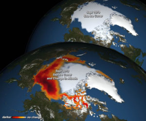 Decreasing sea ice and its effect on albedo in the Arctic