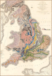 William Smith's 1815 map of the strata of England and Wales and a portion of Scotland: a map of the southern 3/4 of Britain, showing colored swaths trending generally north-south or northeast-southwest across the country.