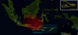 """Projected ashfall resulting from the 1815 eruption of Mt. Tambora. While localized here, it was enough to force significant cooling over large parts of the globe for that year and into the next, leading to the """"Year without a summer"""" (Source: Wikimedia - The base map was taken from NASA picture Image:Indonesia_BMNG.png and the isopach maps were traced from Oppenheimer (2003).[1], CC BY-SA 3.0, https://commons.wikimedia.org/w/index.php?curid=1266774)."""