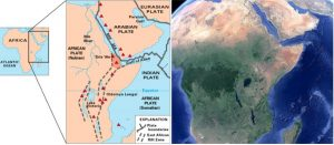 The East African rift zone includes the terrestrial rift basin as well as two other basins filled with water, the Red Sea and the Gulf of Aden. The unique geography of eastern Africa is due to the geology of the East African Rift. Extending from the southern tip of the Red Sea to the country of Mozambique, where Lake Malawi, the southern most linear lake feature in this image, can be found.