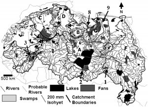 Reconstruction of late Pleistocene and early Holocene waterways of the Sahara, primarily from faunal data (Source: Drake et al., 2011).