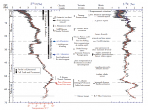 Major temperature fluctuations across the Paleocene-Eocene Thermal Maximum (PETM), as recorded by oxygen can carbon isotope excursions. Global temperatures reached a maximum at about 55 Ma, after which cooling began. Much of this cooling was very likely due to the collision of India with Asia at 45 Ma, a reduction in seafloor spreading rates at 39 Ma, and the rise of the Andes Mountains at 28 Ma. Note how much of the first half of the Cenozoic likely saw ice free polar regions (Used with permission, Zachos et al., 2001).
