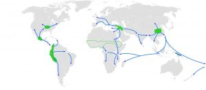 Global centers of origin for agriculture and its spread in prehistory (Source: https://en.wikipedia.org/wiki/Neolithic_Revolution#:~:text=The%20Neolithic%20Revolution%2C%20or%20(First,an%20increasingly%20larger%20population%20possible.)