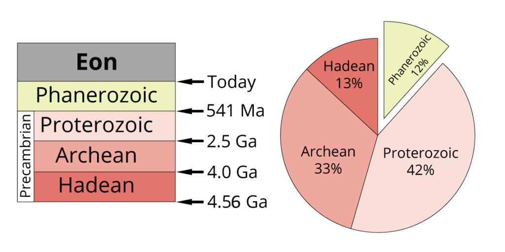 """Left: the four eons of geological time. Right: the """"Precambrian"""" eons (Hadean, Archean, and Proterozoic) represent 88% of geological time. Image by Jonathan R. Hendricks. From: https://www.digitalatlasofancientlife.org/learn/geological-time/geological-time-scale/. Creative Commons License. This work is licensed under a Creative Commons Attribution-ShareAlike 4.0 International License."""