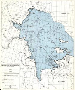 Maximum extent of proglacial Lake Agassiz (Source: University of Manitoba Libraries Map Collection).