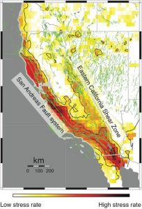 The Eastern California Shear Zone runs near the border of California and Nevada.
