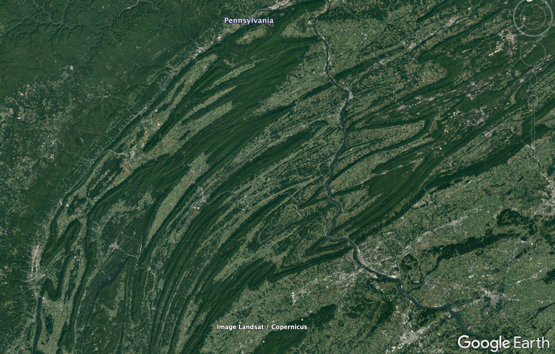 Google Earth Image of the Appalachian Mountain fold belt in western Pennsylvania at 200 km eye altitude.