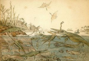 Historical artistic rendering of Mesozoic seas