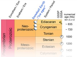 A close-up look at the Neoproterozoic portion of the geologic time scale. The final era of the Proterozoic eon is the Neoproterozoic, and there are three periods in the Neoproterozoic: the Tonian (1000 Ma to ~720 Ma), the Cryogenian (~720 Ma to ~635 Ma), and the Ediacaran (~635 Ma to 541.0 +/- 1.0 Ma). There were two Snowballs during the Cryogenian, and one in the Ediacaran.