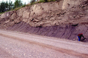 River channel downcutting overbank deposits