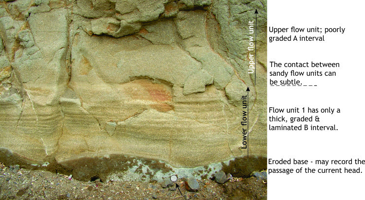 Coarse-grained sandy turbidites with A and B intervals