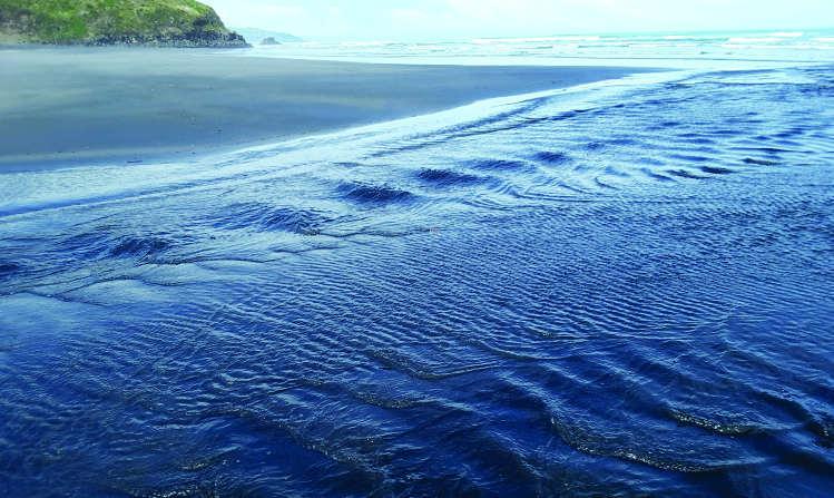 Standing surface waves on a small stream draining a beach