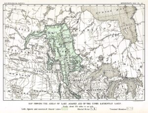 19th century map of the extent of post-glacial Lake Agassiz created by geologist Warren Upham. The actual lake's boundaries were likely much greater than the area indicated here (Source: Public Domain).