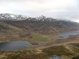 Am Magh, the alluvial fan that divides Lochan na h-Earba into two lakes, Scotland.