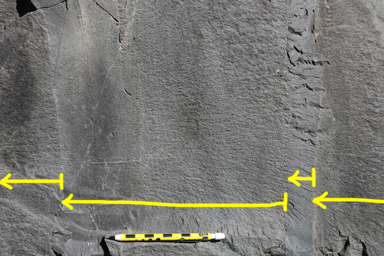 """Annotated photograph showing four vertical beds of gray sedimentary rock. Each has a crisp, coarse base at right, and fines to the left, implying paleo-""""up"""" is to the left."""
