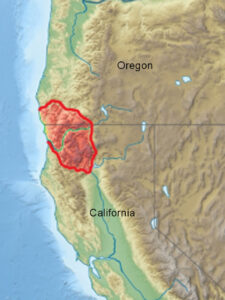 They are in the northwestern corner of California and the southwestern corner of Oregon.