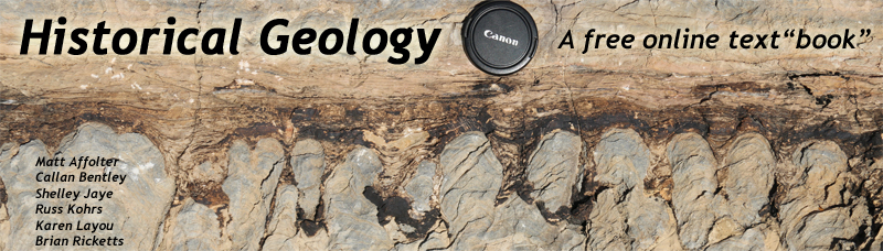 "Banner showing some stromatolites in cross-sectional view, and the title of the text: HISTORICAL GEOLOGY, a free online text""book"""