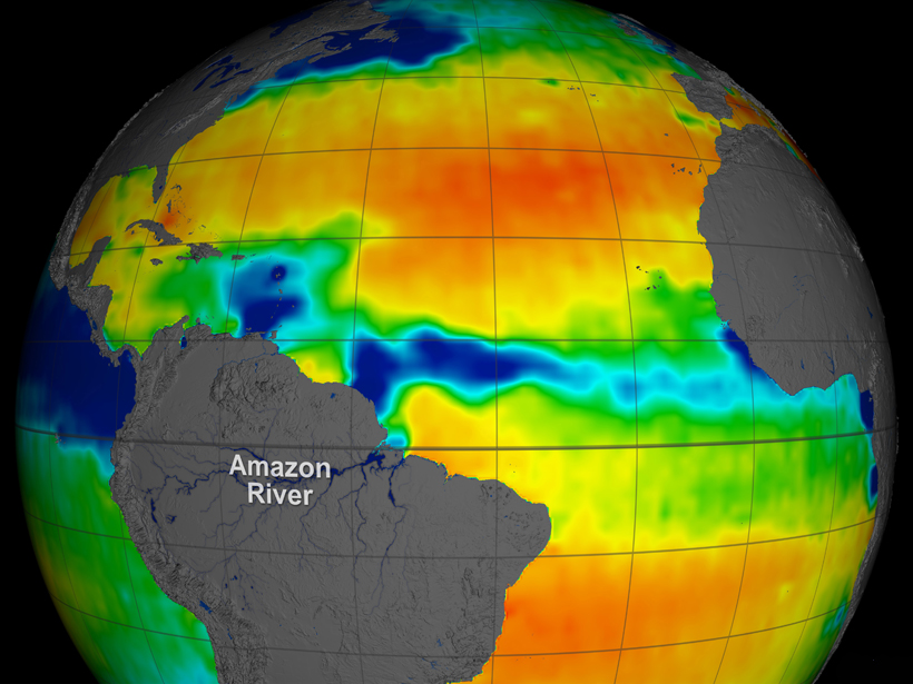 Salinity data from NASA's AQUARIUS instrument, dated 27 February 2013. Salinity data provides important insights into the planet's water cycle (Source: NASA CCBY 2.0).