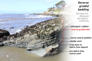 Annotated photograph showing an outcrop of sedimentary rock along the coast of California, showing reverse graded bedding. The outcrop is of Miocene-aged Purisima Formation, near San Mateo, California. At the bottom of the outcrop is pre-debris flow coarse sand. Then there is a crisp transition to a 15 cm thickness of muddy sand, topped with coarse sand and pebbles for 20 cm, topped with a 50 cm thick portion of subangular cobbles. The various units are labeled. The Pacific Ocean breaks in curling waves in the background, and a house and some trees are on a cliff.