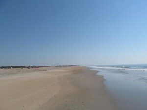 Photograph of sandy beach at Assateauge Island, Virginia. It's very flat.