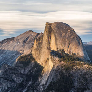 Photograph of Half Dome in Yosemite National Park, in the low-angle evening light.
