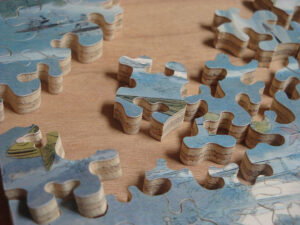 Photograph of a partially completed wooden jigsaw puzzle.