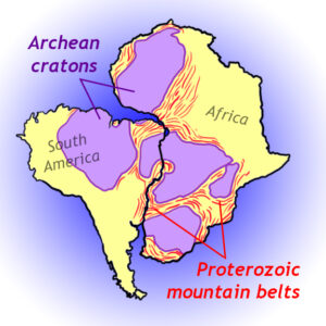 Map showing how blocks of Archean crust (cratons) and the Proterozoic mountain belts that wrap around them are continuous if Africa and South America are re-connected in position.