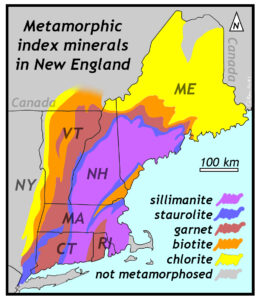 Map showing the distribution of metamorphic index minerals in New England. A belt of sillimanite grade rocks stretches from southern Connecticut norther through central Massachusetts, the bulk of New Hampshire, and southern Maine. This is surrounded by a zone of staurolite bearing rocks, and surrounding that is garnet, then biotite, and then chlorite.