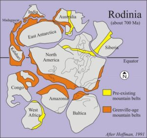 """Map showing the various continents making up the Mesoproterozoic supercontinent Rodinia, with pre-Grenvillian and Grenvillian (~1.1 Ga) mountain belts highlighted. Ancestral North America is at the central """"nucleus"""" position of Rodinia, flanked by (clockwise from the ~6:00 position) Baltica (ancestral Europe), Amazonia, West Africa, Congo, Kalahari + East Antarctica + Magagascar + India, Australia, and Siberia."""