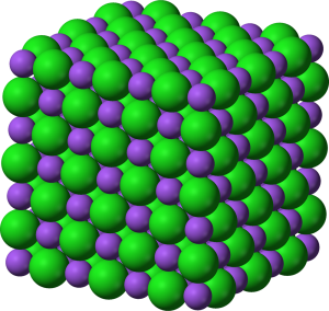 Image of crystal model of halite with ions of sodium and chlorine arranged in a cubic structure.