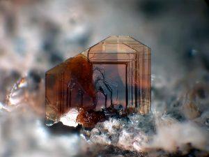 Dark brown crystals of biotite mica showing sheet-like habit