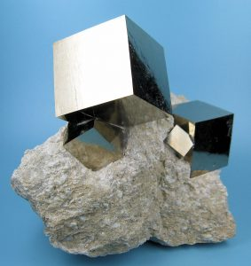"Cubic crystals of iron pyrite, called ""fools gold"""
