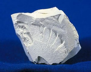 Specimen of kaolin, a clay oineral, showing dull or earthy luster