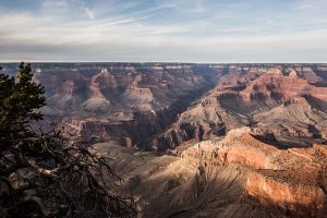 Photo of the Grand Canyon showing expanse of canyon and the various rock layers