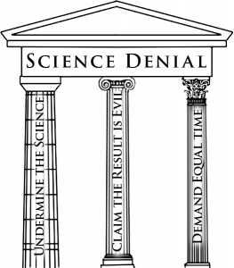 "Shows three pillars labeled ""Undermine the Science"", ""Claim the Result is Evil"", and ""Demand Equal Time""."