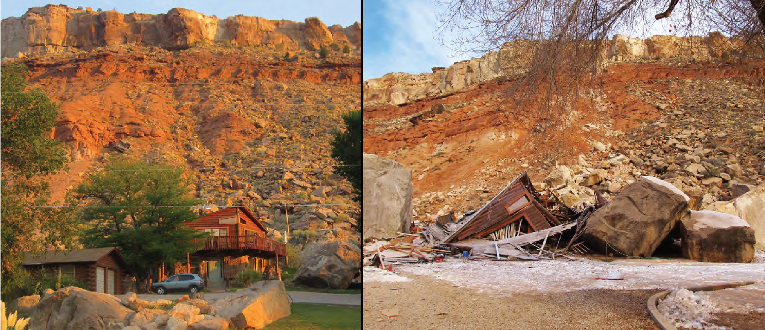 House before and after destruction from 2013 Rockville rockfall.