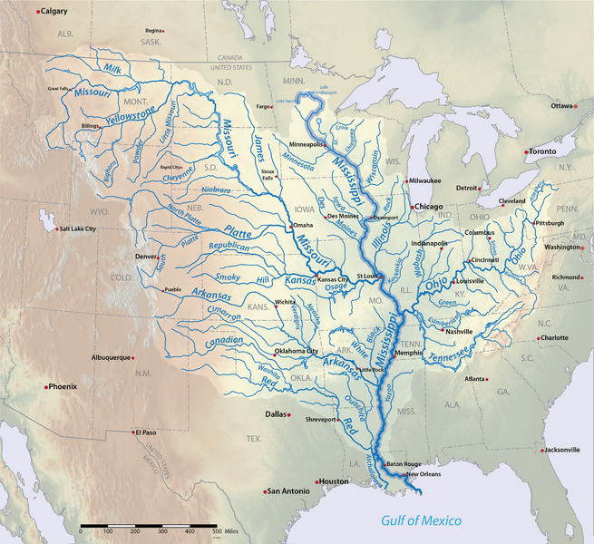 The area that contributes to the tributaries of the Mississippi River.